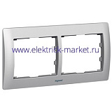 Legrand Galea Life Тертый Алюминий/Brushed Aluminium Рамка 2-я гориз