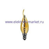 DECOR С35 FLAME GL 25W E14  (230V) FOTON_LIGHTING  (S112) -  лампа свеча на ветру золотая